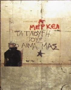 "Graffito, ""Reichtum Merkel"", Mixed Media 45 x 35 cm"